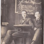 Edwin Boocock on the left in a classroom