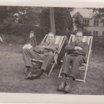Edwin Boocock (right) relaxing in the school grounds